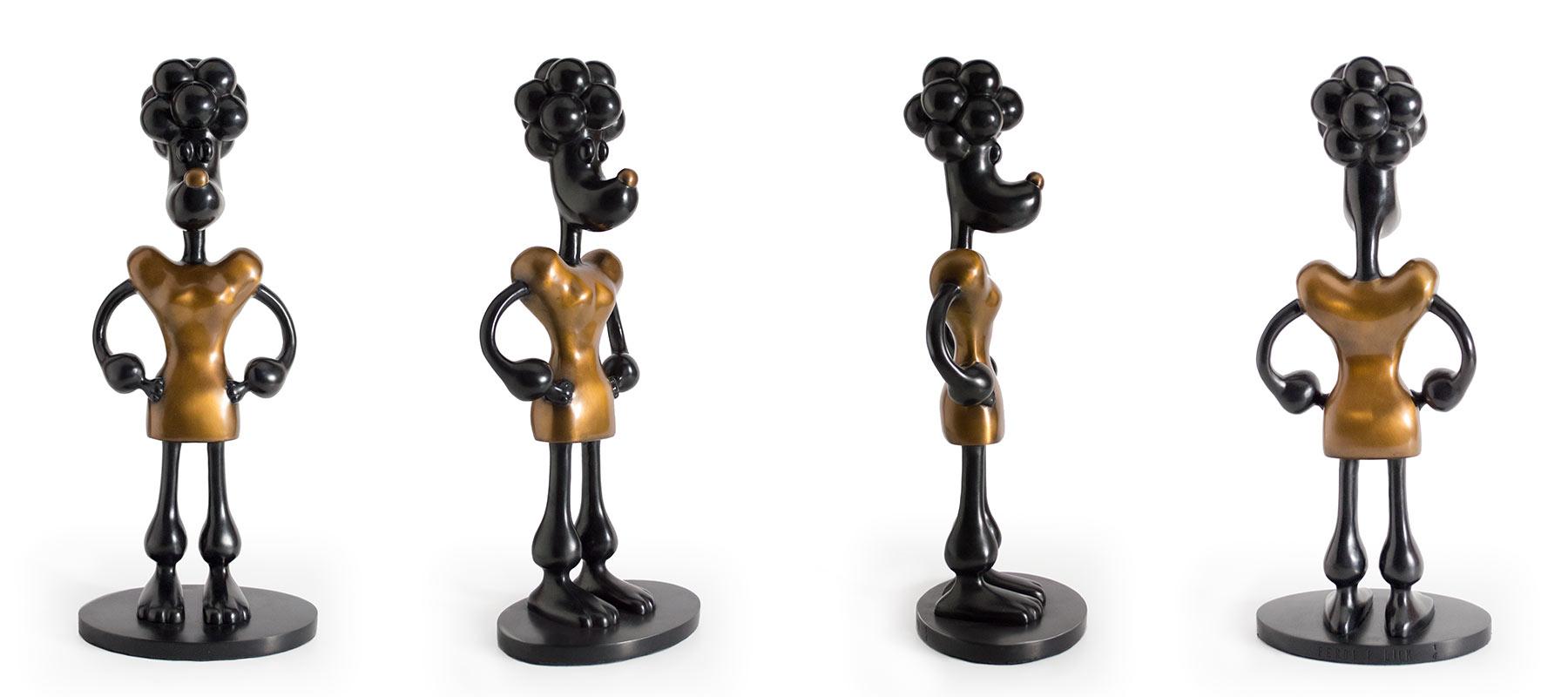 Black and bronze cartoon dog sculpture, Mounted on black patina bronze base