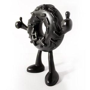 Black donut art toy